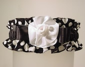 SIMPLY DOTTY garter WEDDING or PROM black and white