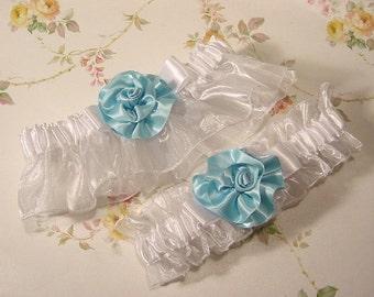 Wedding garter set Blue And White delight, wedding garter set