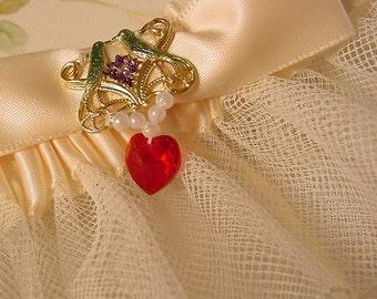 LOVE BIRD  garter WEDDING or PROM crystal heart.