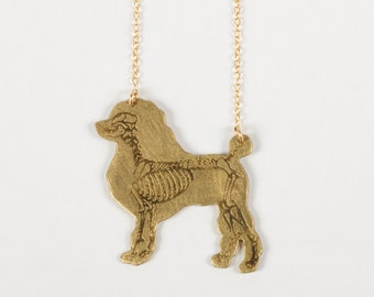 Poodle Necklace - Dog Necklace - Poodle Lover - Poodle Gift - Veterinarian - Dog Show - Dog Breed - Skeleton Jewelry - Dia de los Muertos