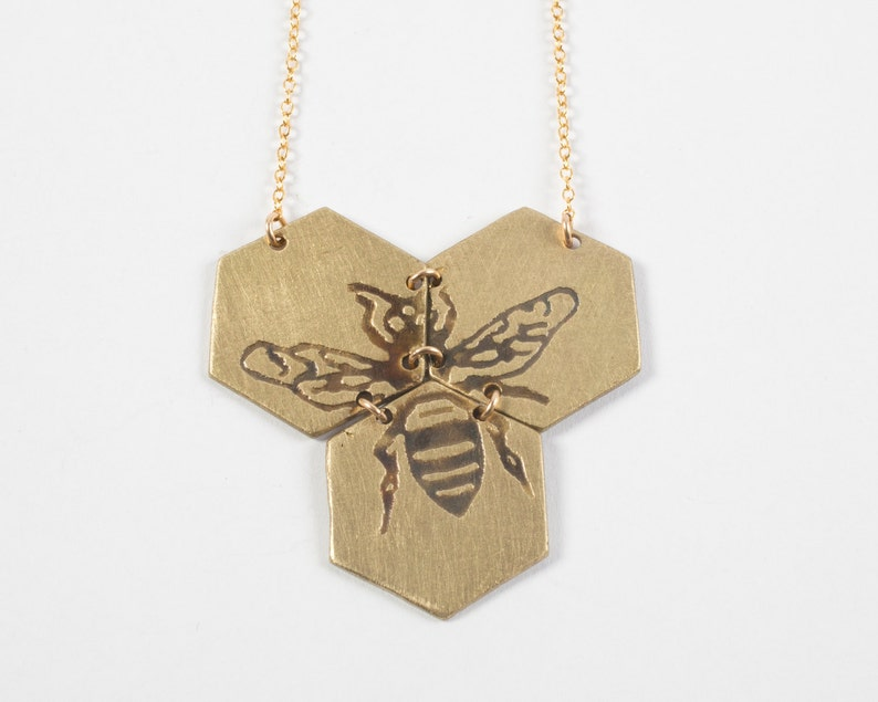 Hexagon Necklace  Bee Necklace  Gold Hexagon Jewelry  image 0