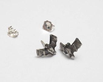 Bat Earrings - Bat Wings - Studs - Silver Bat - Bat Jewelry - Vampire Earrings - Dracula Jewelry - Tiny Animal Earrings - Animal Jewelry