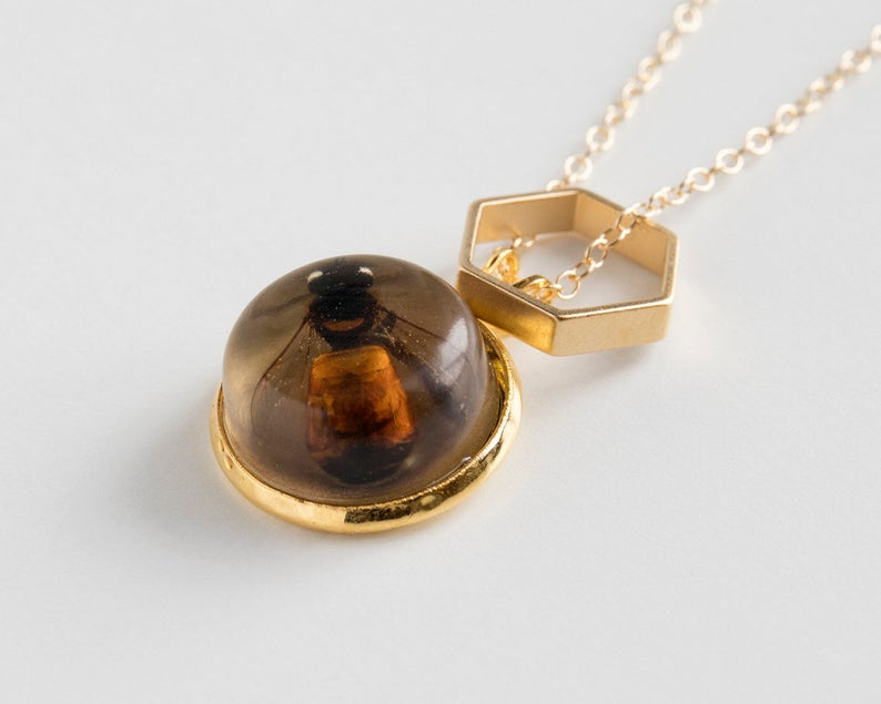 Bee Necklace  Honeycomb Necklace  Bee Jewelry  Taxidermy  image 0