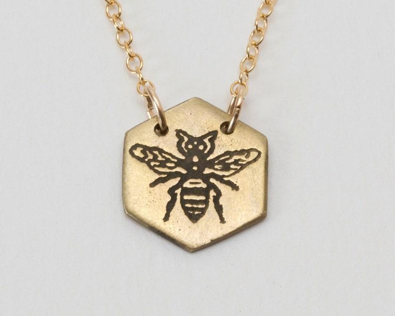 Bee Necklace  Bumble Bee  Bee Charm  Bee Jewelry  Honey image 0