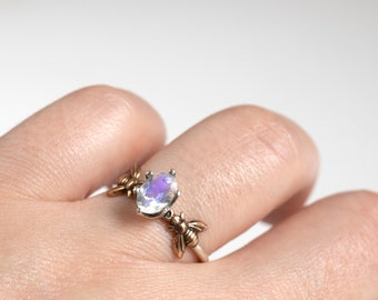 Moonstone Ring - Silver Bee Ring - Honeybee Ring - Bee Jewelry - Bee Gift - Stacking Ring - Rainbow Moonstone - June Birthstone - Opalescent