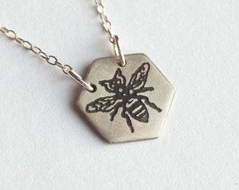 Bee Necklace - Hexagon Necklace - Sacred Geometry - Honeycomb - Bumble Bee - Bee Charm - Silver Bee Necklace - Honeybee Jewelry