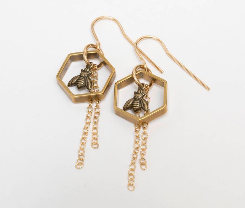 Bee Earrings  Hexagon Earrings  Bee Jewelry  Hexagon image 0