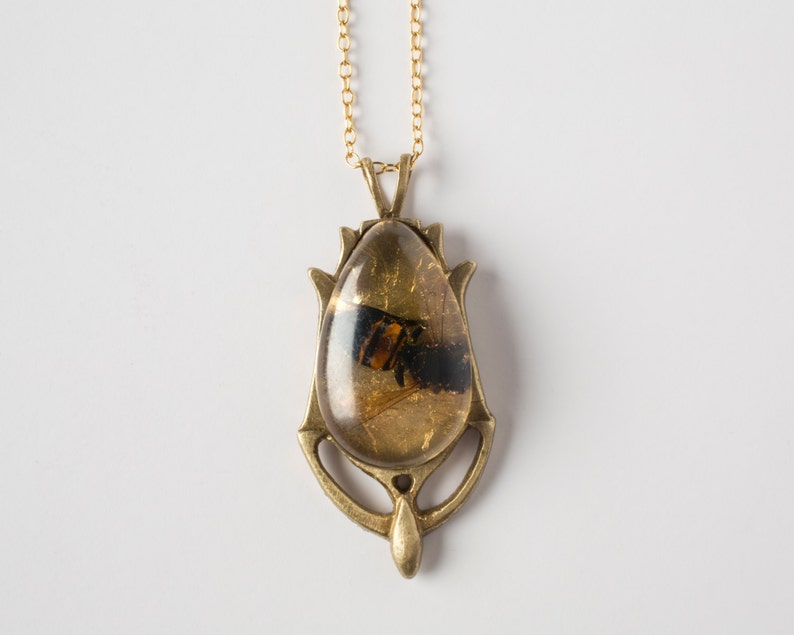 Real Bee Jewelry  Honeybee Jewelry  Real Insect Necklace  image 0