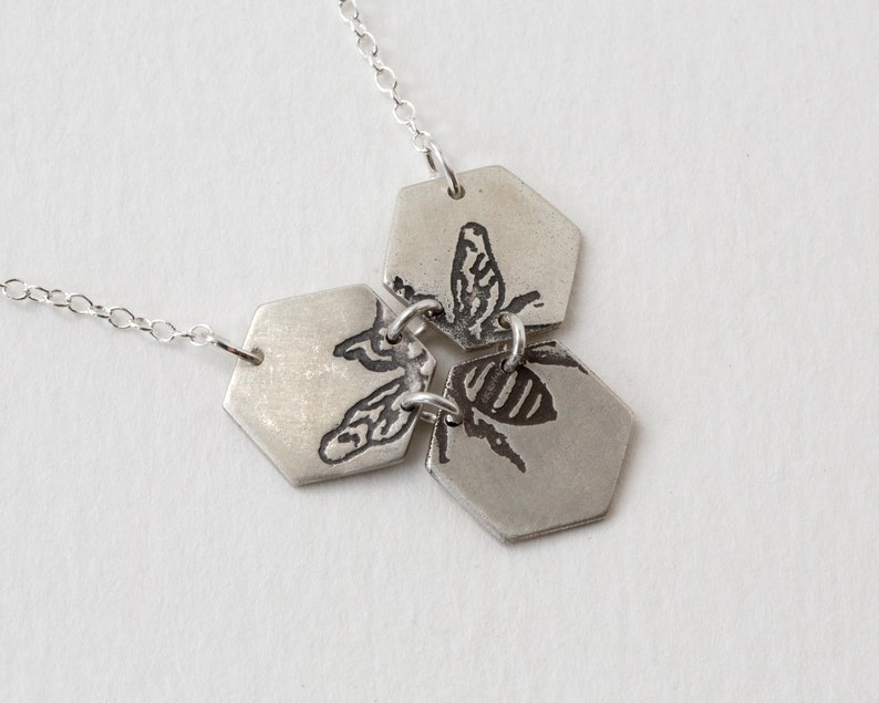 Bee Necklace  Hexagon Necklace  Etched Bee Necklace  Silver image 0