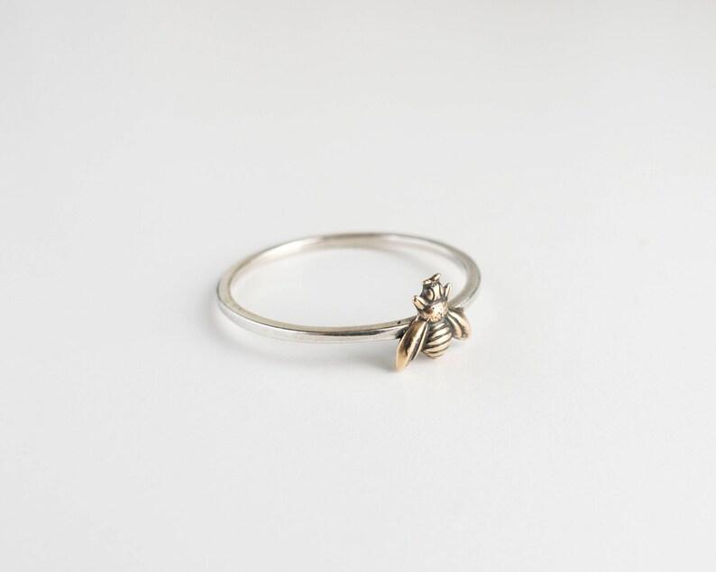 Bee Ring  Tiny Bee Jewelry  Bee Charm  Honeybee Ring  image 0