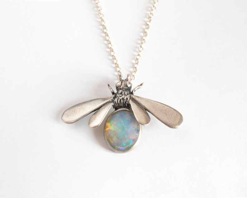 Bee Pendant  Silver Bee Jewelry  Bee Necklace  Bee with image 0