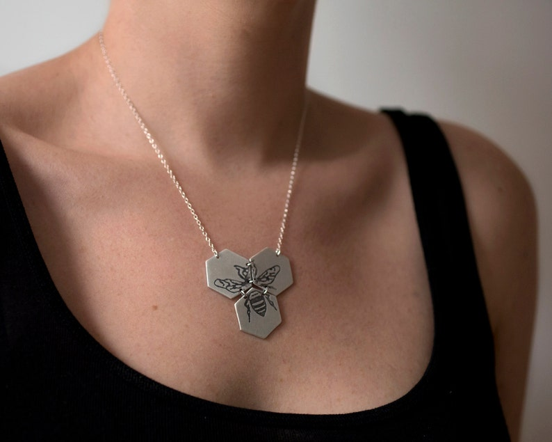 Hexagon Necklace  Bee Necklace  Silver Hexagon Jewelry  image 0