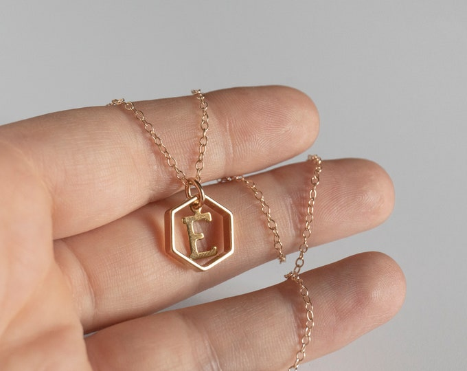 Initial Letter Necklace, Personalized Hexagon Necklace, Gold Geometric Monogram Jewelry, Multiple Initial Necklace