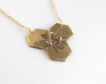 Bee Jewelry - Honeycomb Necklace - Bee Pendant - Honey Bee - Hexagon Necklace - Geometric Necklace - Bee Necklace - Gold Bee Necklace