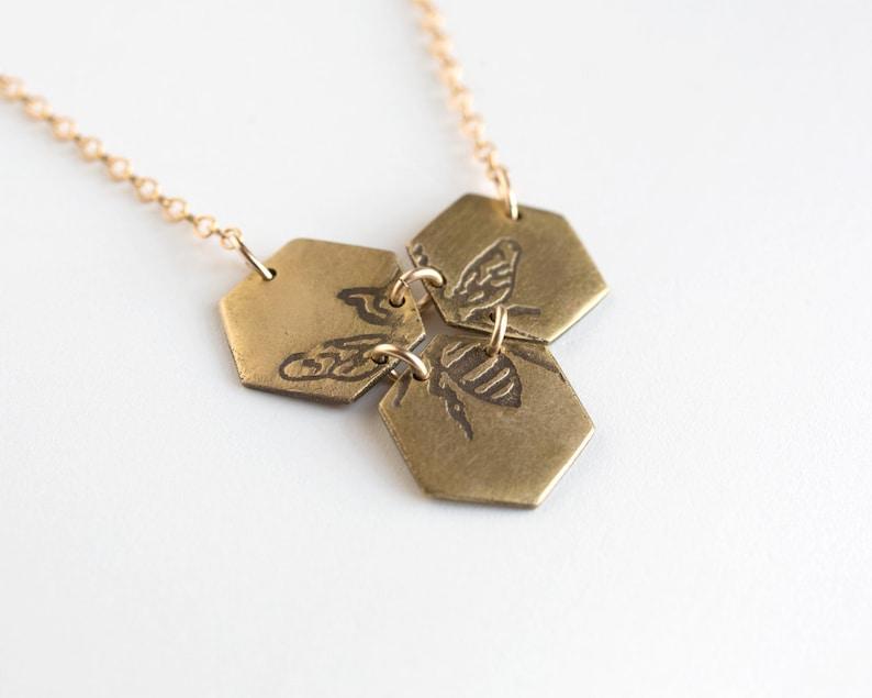 Honey Bee Hexagon Jewelry Honeycomb Necklace Geometric image 0