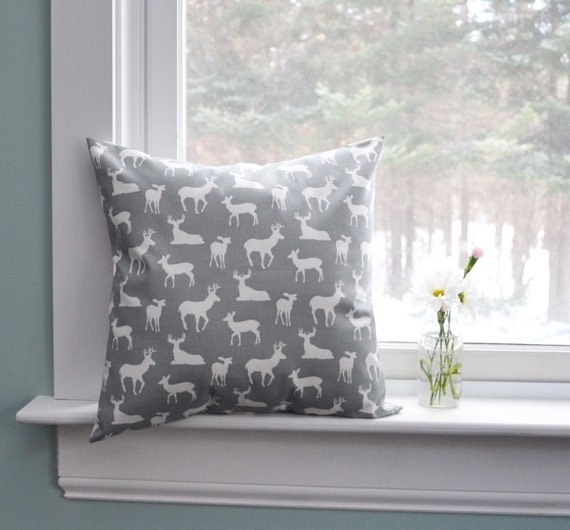 Marvelous Pillow Cover Decorative Pillows Deer Pillows Gray Pillow Cabin Decor Cushion Covers Inzonedesignstudio Interior Chair Design Inzonedesignstudiocom