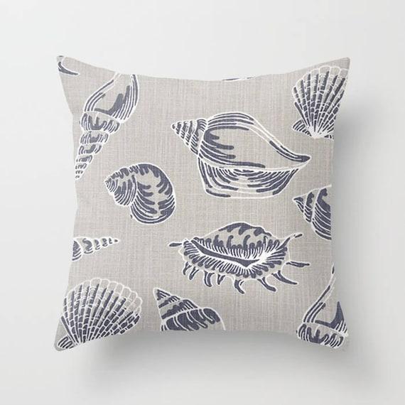 Nautical Pillow Cover Seashell Pillow Cover Decorative Pillow Etsy Inspiration Seashell Pillows Decorative