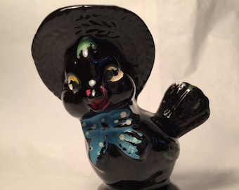 Ceramic BLACK BIRD with Hat and Bow
