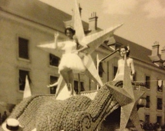 Two beautiful girls on a float - 1940s snapshot