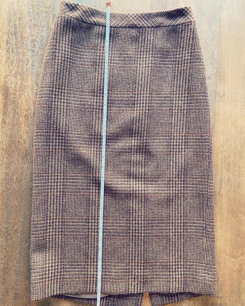 1990s Max Mara lambswool and alpaca plaid bodycon pencil skirt