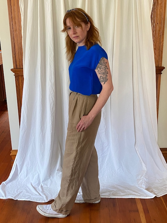 Vintage Harold's pleated camel linen trousers