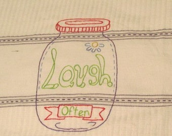 Hand Embroidered Love, Laugh, and Live tea towels