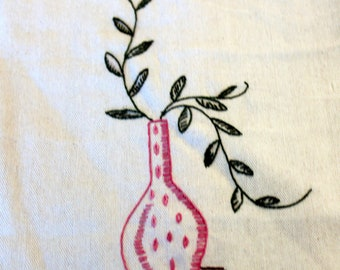 Hand Embroidered Pink Vase with Vines tea towel