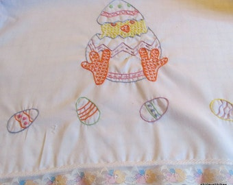 Hand Embroidered Easter Chick tea towel