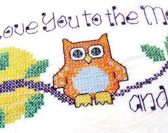 Cross stitched Mr Owl pillowcase