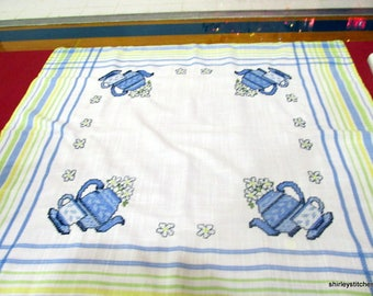 Hand Embroidered Tea Time table topper