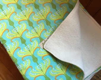 Soft Organic Cotton Baby Blanket. Aqua Garden