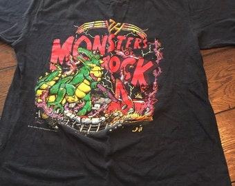 c528c3eca Vintage 80s Monsters of Rock Tour 1988 Concert T-shirt Van Halen Tee BLACK