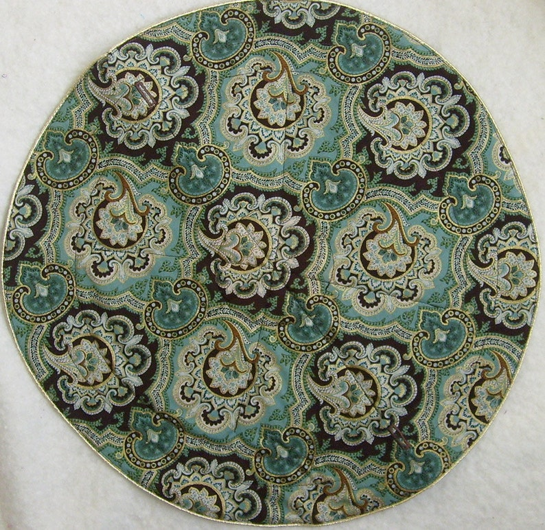 Anti Tarnish Jewelry Bag Pouch in brown and aqua baroque paisley