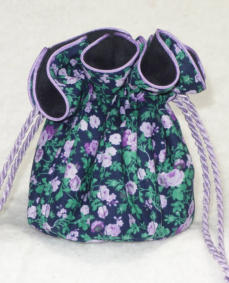 Anti Tarnish Jewelry Bag in Navy and Lavender Calico