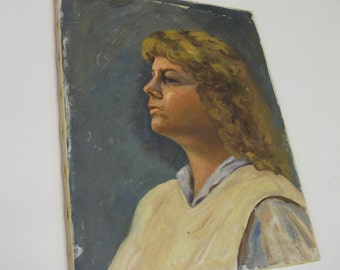 Distressed Vintage Portrait Painting on Stretched Canvas