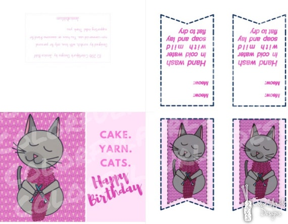 Pink Knitting Cat Happy Birthday Card And Gift Tags Etsy