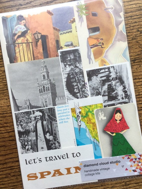 lets travel to spain vintage collage scrapbook and planner etsy