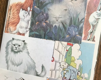 White Cats Vintage Kitten and Cat Collage, Scrapbook and Planner Kit Number 3291