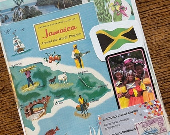 Let's Travel to Jamaica Vintage West Indies Island Collage, Scrapbook and Planner Kit Number 3353
