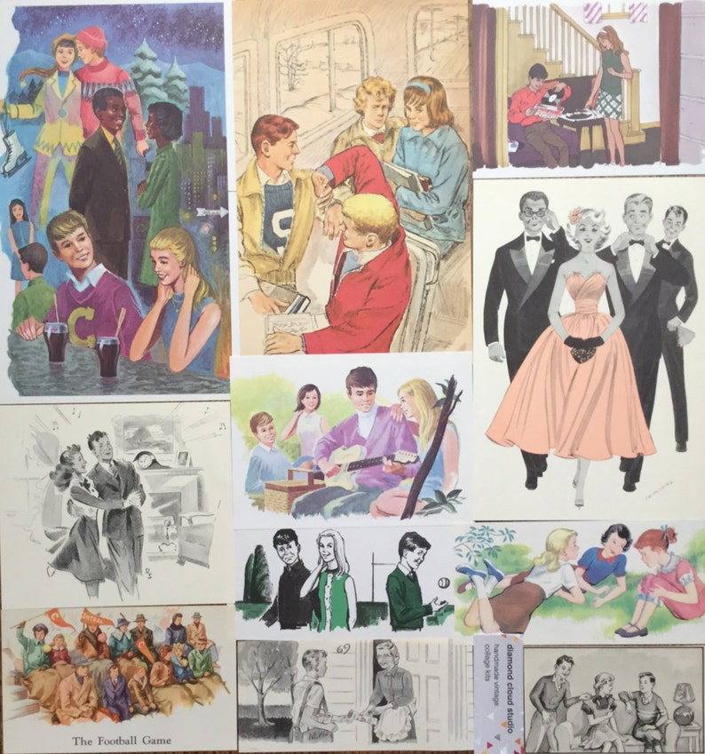 Scrapbook and Planner Kit Number 2262 Teen Age Boy and Girl Vintage High School Collage