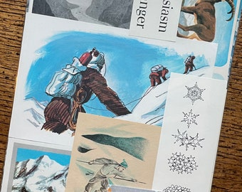 Snow and Glacier Camping and Mountain Climbing Vintage Extreme Winter Weather Collage, Scrapbook and Planner Kit Number 3253