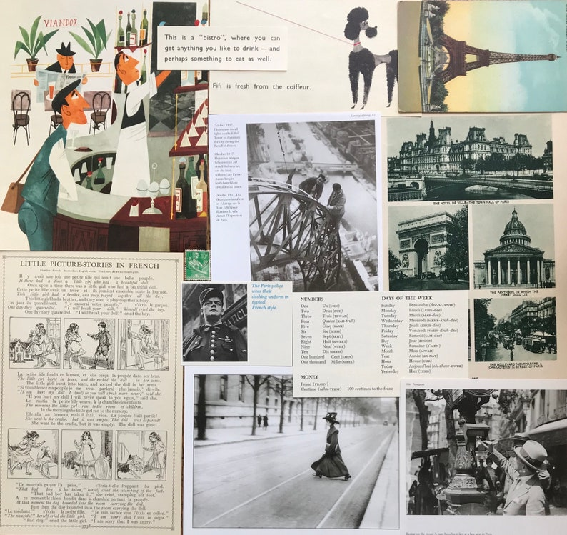 Christmas in France Vintage Travel Collage Scrapbook and Planner Kit Number 1918