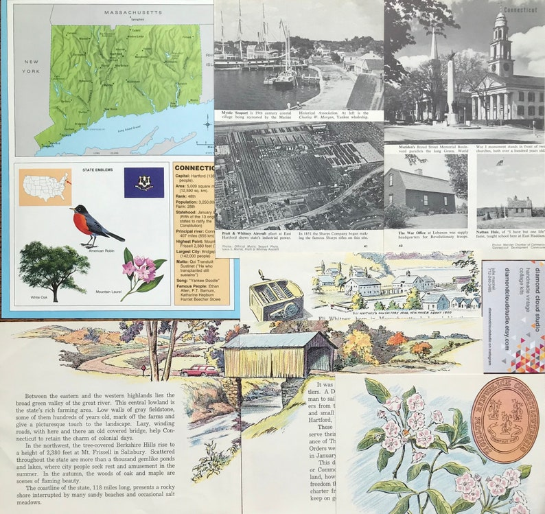 Let/'s Travel to Connecticut Vintage United States Collage Planner and Scrapbook Kit Number 2775