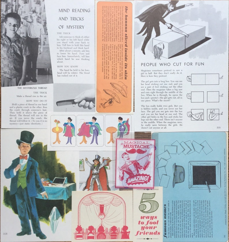 Scrapbook and Planner Kit Number 2219 Magic Trick Vintage Magician Collage