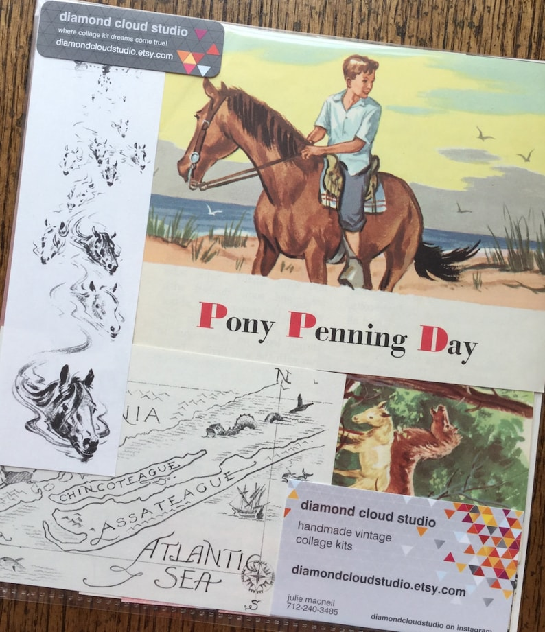 Pony Penning Day Vintage Chincoteague Island Collage, Scrapbook and Planner  Kit Number 2283