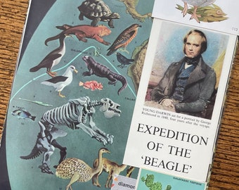Let's Travel to the Galapagos Islands Vintage Charles Darwin Evolution Deluxe Collage, Scrapbook and Planner Kit Number 3352