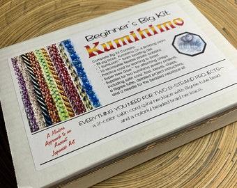 Kumihimo Big Kit for Beginners. Loom, book, bobbins, 2 necklace kits, glue.