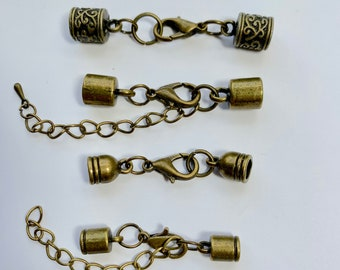 Antique Bronze Plated Lobster Clasp With 2 Extender And Tip Dangle Clasp Set 5mm And 4mm End Caps Four Sizes 8mm 6mm