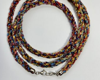 Rayon Chenille Necklace or Lanyard Kit with clasps. Soft! Choice of colors. Kumihimo 12-strand round braid.