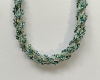 Chenille Beaded Necklace Kit. Kumihimo 16-strand. Japanese 8/0 glass beads.